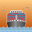 Illustration of a cargo ship traveling. — Stock Photo