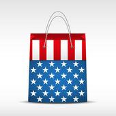 Shopping bag with USA flag — Stock Vector