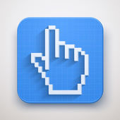 Pixel cursor icon click mouse hand — Stock Vector