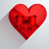 Gift box with red ribbon in the form of heart. — Stock Vector
