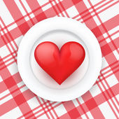 Background white plate with realistic heart. — Vector de stock