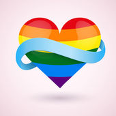 LGBT Background rainbow heart and ribbon. — Stock Vector
