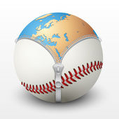 Planet Earth inside baseball ball — Stock Vector