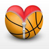 Red heart inside basketball ball — Stock Vector