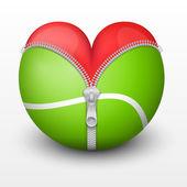 Red heart inside tennis ball — Stock Vector