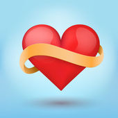 Background beautiful red heart and ribbon. — Stockfoto