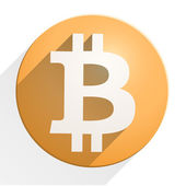 Flat Icon of financial currency Bitcoin — Stock Photo