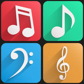 Flat icon set music for Web and Application. — Stock Vector