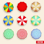 Symbol set of a parasol, top view. — Stock Vector