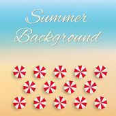 Beach background with sun umbrellas — Stock Vector