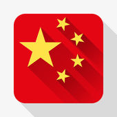 Simple flat icon China flag. Vector. — Wektor stockowy