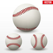 Set of baseball leather ball. Various sides. Vector. — Stock Vector