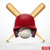 Symbol of a baseball. Helmet, ball and two bats. Vector. — Stock Vector