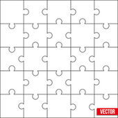 Sample of square puzzle blank template or cutting guidelines. Vector. — Stock Vector