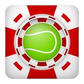 Kare kırmızı casino fişi tenis spor bahisleri — Stok Vektör