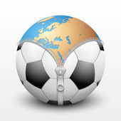 Planet Earth inside soccer ball — Stock Vector