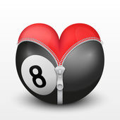 Red heart inside billiard ball — Stock Vector