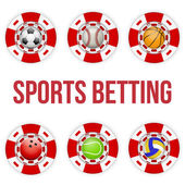 Square red casino chips of soccer sports betting — Stock Vector