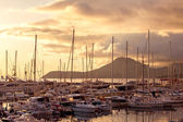 Yacht marina at sunset. Montenegro. — Stock Photo