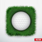 Icon symbol golf ball in green grass. Vector. — Stockvektor