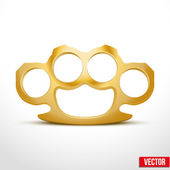 Gold Metal Brass knuckles vector illustration — Stock Vector