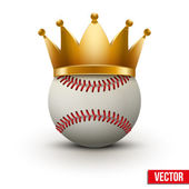 Baseball ball with royal crown — Stock Vector