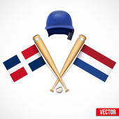 Symbols of Baseball team Dominican Republic and Netherlands. — Stock Vector