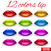 Shades of Beautiful luscious multicolor lips. Vector Illustration. — Stock Vector
