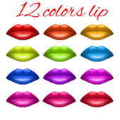 Shades of Beautiful luscious multicolor lips. — Stock Photo