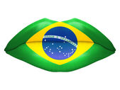 Beautiful luscious lips with flag of Brazil texture — Stock Photo