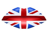 Beautiful luscious lips with flag of Great Britain texture — Stock Photo