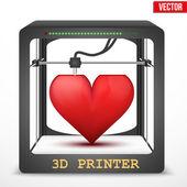 Heart transplant. 3D printer for the internal organs. — Stock Vector