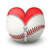красное сердце внутри бейсбольный мяч — Стоковое фото
