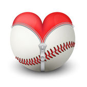 Red heart inside baseball ball — Foto de Stock