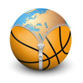 Planet Earth inside basketball ball — Stock Photo