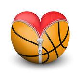 красное сердце внутри баскетбольный мяч — Стоковое фото