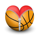 Red heart inside basketball ball — Foto de Stock