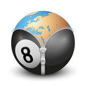 Planet Earth inside billiard ball — Stock Photo