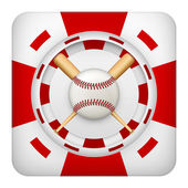 Square red casino chips of baseball sports betting — Stock Photo