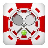 Square red casino chips of tennis sports betting — Stock Photo