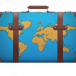 Classic vintage luggage suitcase for travel with map — Stock Photo