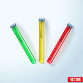 Transparent test tubes with colored liquids. Vector illustration. — Stock Vector