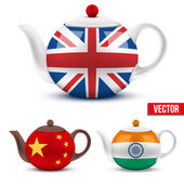 Set of ceramic teapot with flag British, India and China. — Stock Vector
