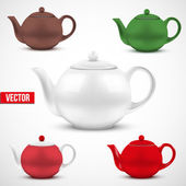 Set of colorful ceramic teapot. Vector. — Stock Vector