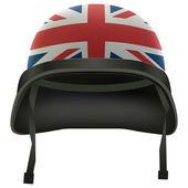 Capacete militar bandeira britânica. isolado no fundo branco. cópia de bitmap. — Foto Stock