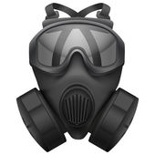 Military black gasmask respirator. Isolated on white background. Bitmap copy. — Stock Photo
