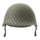 Military classic helmet with grid. Isolated on white background. Bitmap copy. — Stock Photo