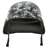 Military helmet with camo pattern. Isolated on white background. Bitmap copy. — Stock Photo