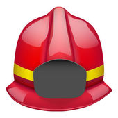 Red fireman glossy helmet. Isolated on white background. Bitmap copy. — Stock Photo