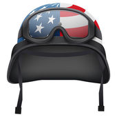 Military American helmet and goggles. Isolated on white background. Bitmap copy. — Stock Photo